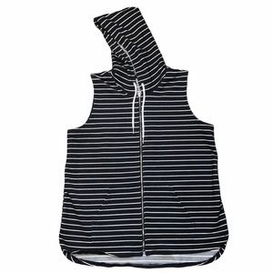 Tribal Grey & White Stripped Hooded Vest - Sz L